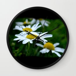 English Daisies on a field of green Wall Clock