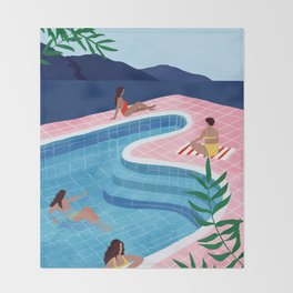 Pool ladies Throw Blanket