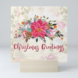 Christmas Greetings Poinsettia Bouquet Mini Art Print