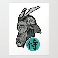 samurai Art Prints featuring Samurai by  Steve Wade ( Swade)