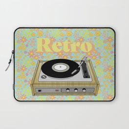 Retro Vibes Record Player Design in Yellow Laptop Sleeve