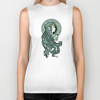 hallion Biker Tanks featuring Zelda Nouveau by Karen Hallion Illustrations