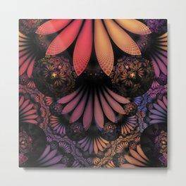 Pastel & Paisley Plume of Rainbow Fractal Feathers Metal Print