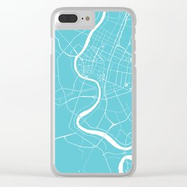 Bangkok Thailand Minimal Street Map - Turquoise and White Clear iPhone Case