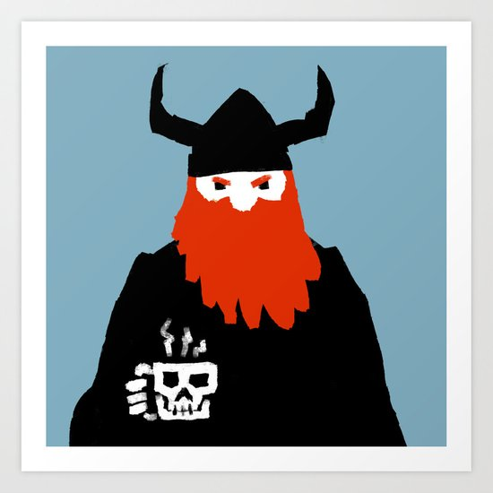 Viking and his morning coffee Art Print