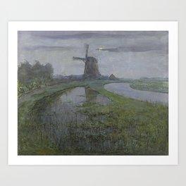 Oostzijdse Mill along the River Gein by Moonlight, Piet Mondrian, c. 1903 Art Print