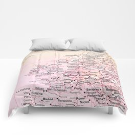 Rose Word Map Europe Comforters