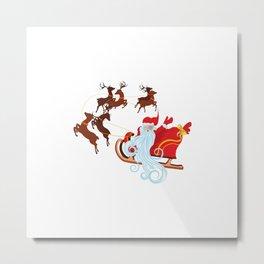Santa Riding Christmas Sleigh at Night Metal Print
