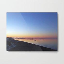 Winter Beach Sunset Metal Print