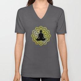 Golden Mandala Meditation Unisex V-Neck