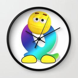 Letter Q Alphabet Smiley Monogram Face Emoji Shirt for Men Women Kids Wall Clock