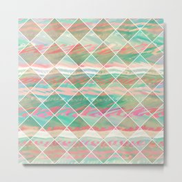 Summer Checkers | Girly Modern Pastel Geometric Diamond Shapes Metal Print