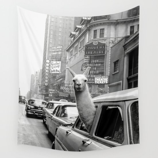 Llama Riding in Taxi, Black and White Vintage Print by vintagevault