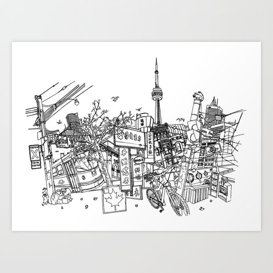 Toronto! (Dark T-shirt Version) Art Print