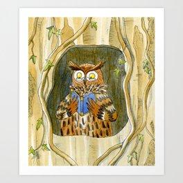 Owl Reading Art Print