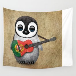 Baby Penguin Playing Portuguese Flag Acoustic Guitar Wall Tapestry