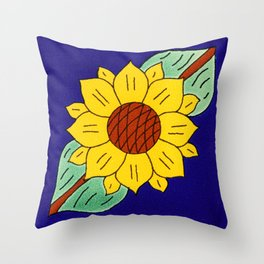 talavera mexican tile with a flower Throw Pillow