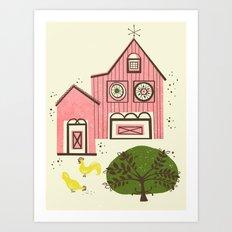 Farm House Pink Art Print