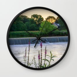 Wehr's Dam with Flowers Wall Clock