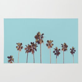 palm trees turquoise Rug