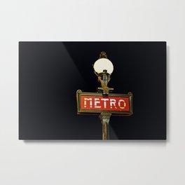 Metro - Paris Subway Sign Metal Print