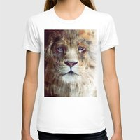 animal crew T-shirts featuring Lion // Majesty by Amy Hamilton