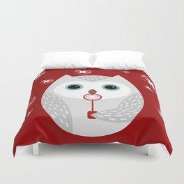 Christmas owl on red Duvet Cover