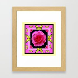 Pink Rose Yellow Monarch Butterflies Deco art Framed Art Print