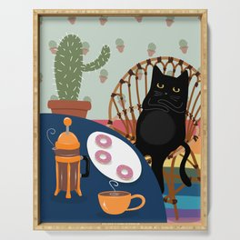 Coffee and Donuts Cat Serving Tray