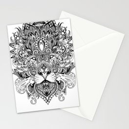 Black And White Geometric pattern mandala lion face Stationery Cards