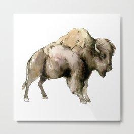Bison, bison woodland Montana Wyoming state decor Metal Print