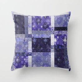 Lotus flower blue stitched patchwork - woodblock print style pattern Throw Pillow