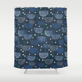 Botanical Block Print M+M Navy by Friztin Shower Curtain