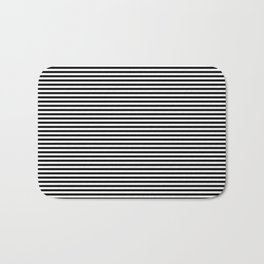 Horizontal Stripes in Black and White Bath Mat