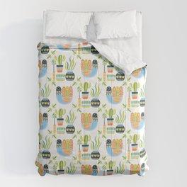 Folk Art Birds // cactus love // colorful boho drawing Comforters