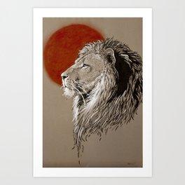 Lion at Sunset Art Print