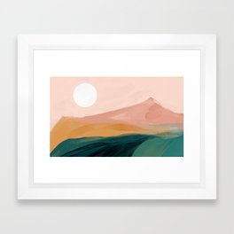 pink, green, gold moon watercolor mountains Framed Art Print