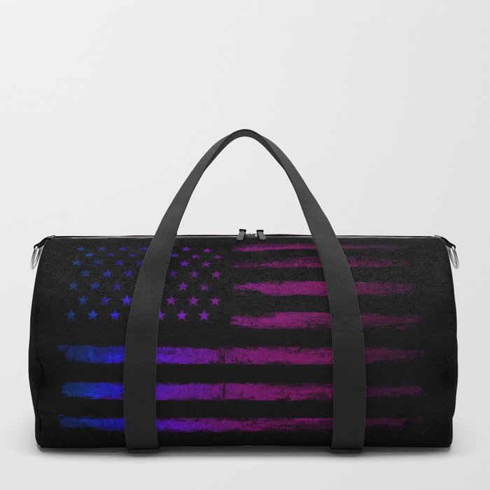 Gradient grunge American flag Black ink Duffle Bag