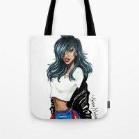 rihanna Tote Bags featuring Rihanna by Armand Mehidri