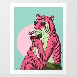 Tiger, Poolside Art Print