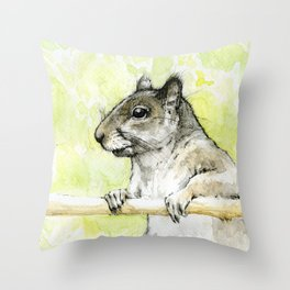 Grey Squirrell Throw Pillow