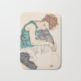 SEATED WOMAN WITH BENT KNEE - EGON SCHIELE Bath Mat