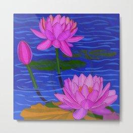 Watercolor Lotus Pond Metal Print