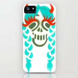 Happy braided Skull Lady_turquoise iPhone Case