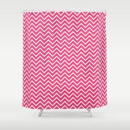 Pink Chevron Pattern Shower Curtain