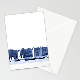 Dutch sailing boats in Delft Blue colors Stationery Cards