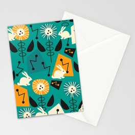 Mid-century pattern with bunnies Stationery Cards