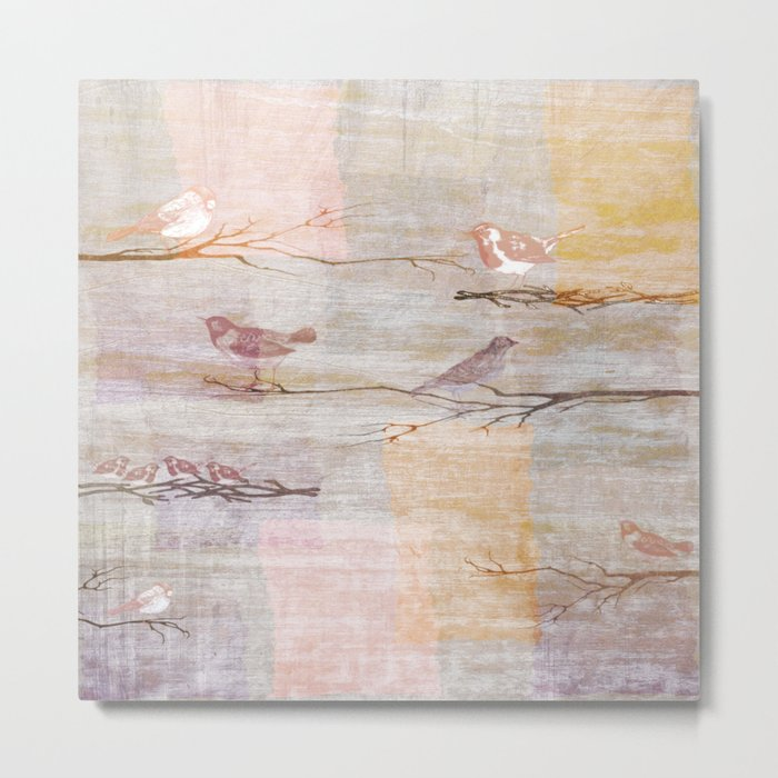 Golden Pink Birds Metal Print