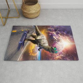 Dinosaur With Sunglasses On Skateboard In Space Rug