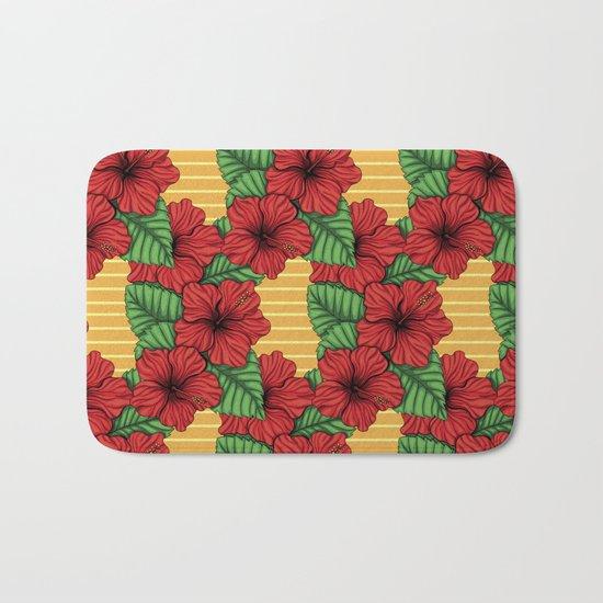 Hibiskcus and leaves, tropical pattern Bath Mat